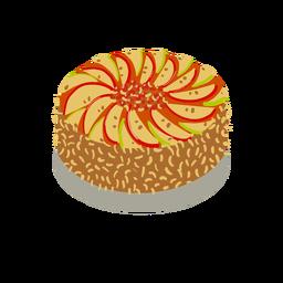 Bolo de frutas saborosas isométrico