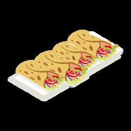 Saboroso taco foodie isométrico