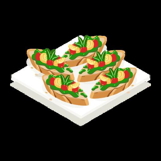 Tasty vegetarian bruschetta isometric
