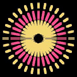 Curso de fogo de artifício colorido de três anéis