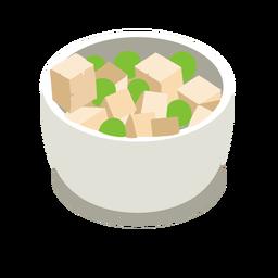 Guisantes de queso tofu isométrica