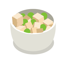 Tofu cheese peas isometric