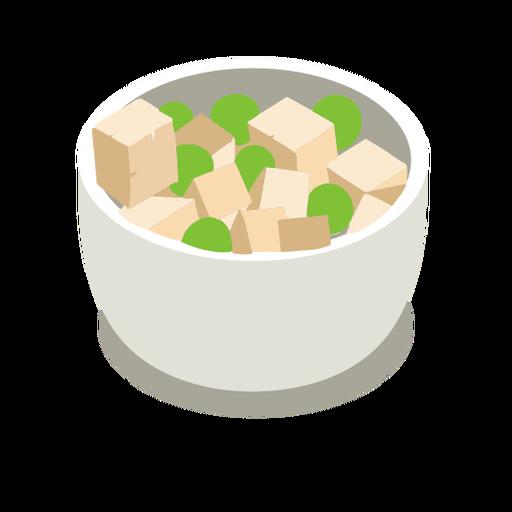 Tofu cheese peas isometric