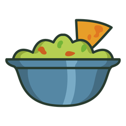 Tortilla chips salsa colorido icono trazo