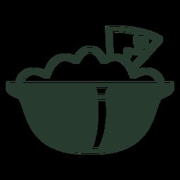 Tortilla chips salsa silueta icono