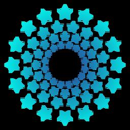 Gradiente de estrellas de masas de fuegos artificiales turquesa