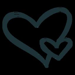 Dos corazón floreciente amor trazo