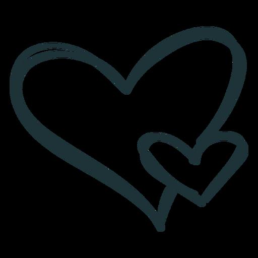 Dos corazón floreciente amor trazo Transparent PNG