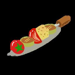 Brocheta de verduras saludable isométrica
