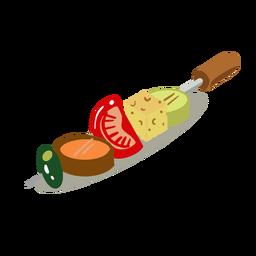 Brocheta de verduras isométrica.