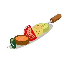 Vegetable skewer kebab isometric