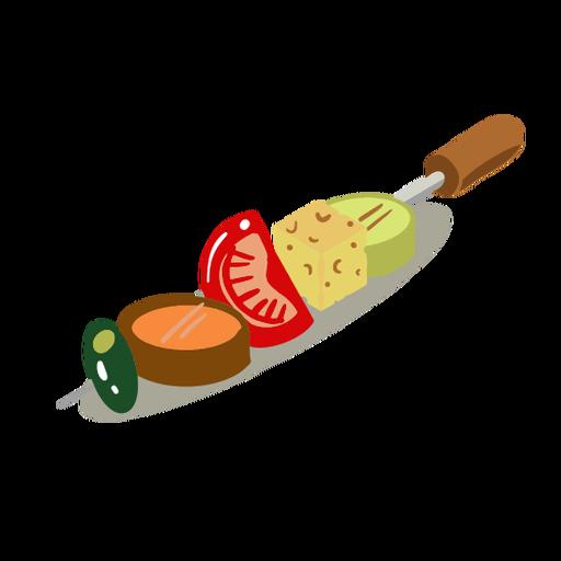 Vegetable skewer kebab isometric Transparent PNG