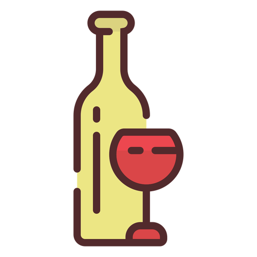 Icono de vaso de botella de vino trazo Transparent PNG