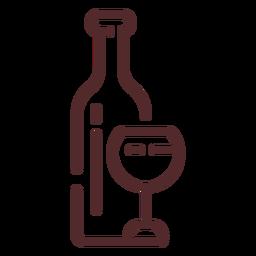 Botella de vino trazo de vidrio
