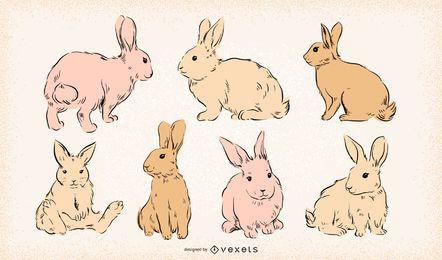 Coelhinhos da Páscoa mão desenhado conjunto