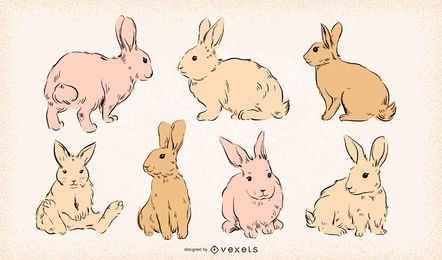 Conejitos de Pascua conjunto dibujado a mano