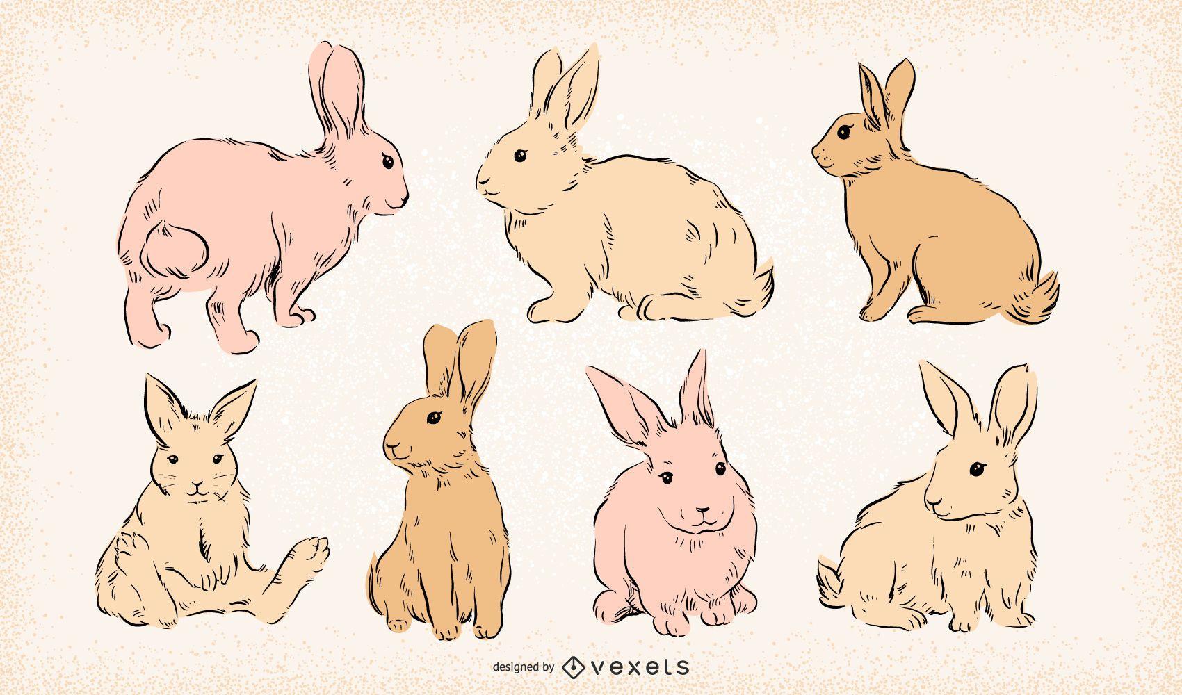 Conjunto de coelhinhos da P?scoa desenhados ? m?o