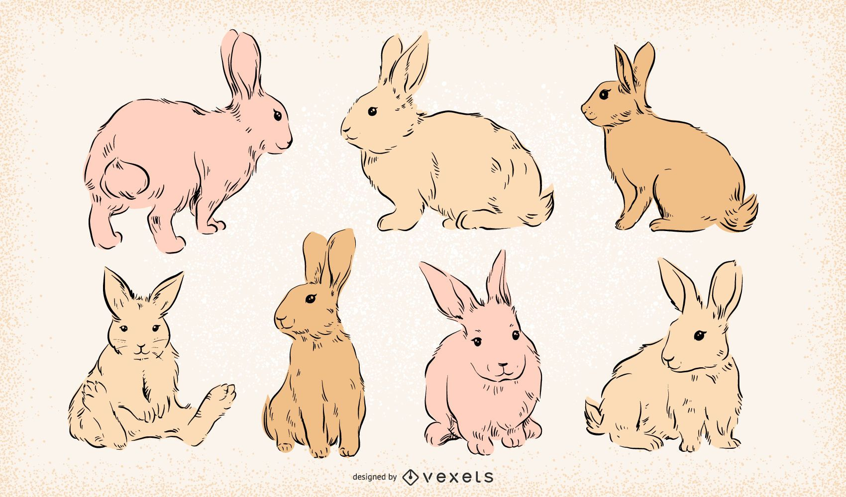 Easter bunnies hand drawn set
