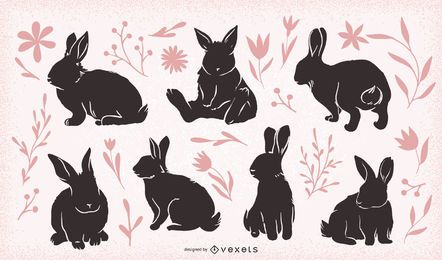 Easter rabbits set