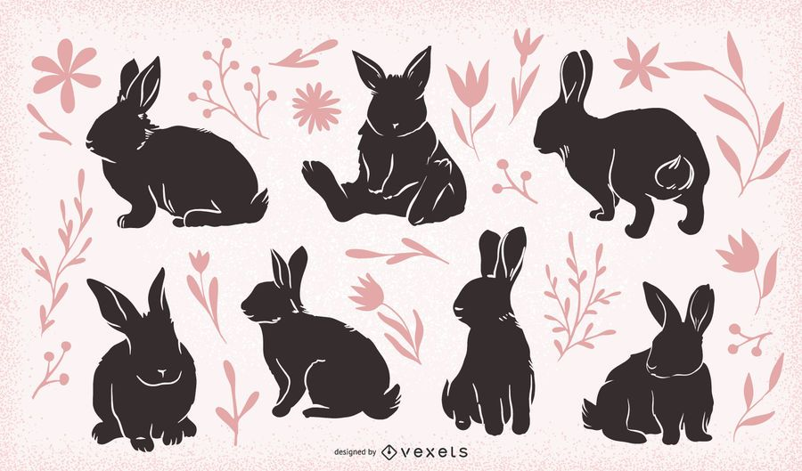 Easter rabbits set