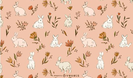 Design de padrão de coelhos da Páscoa