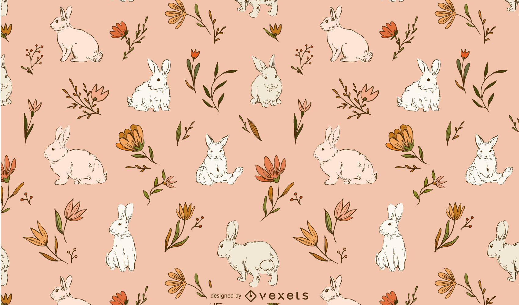Diseño de patrón de conejos de pascua