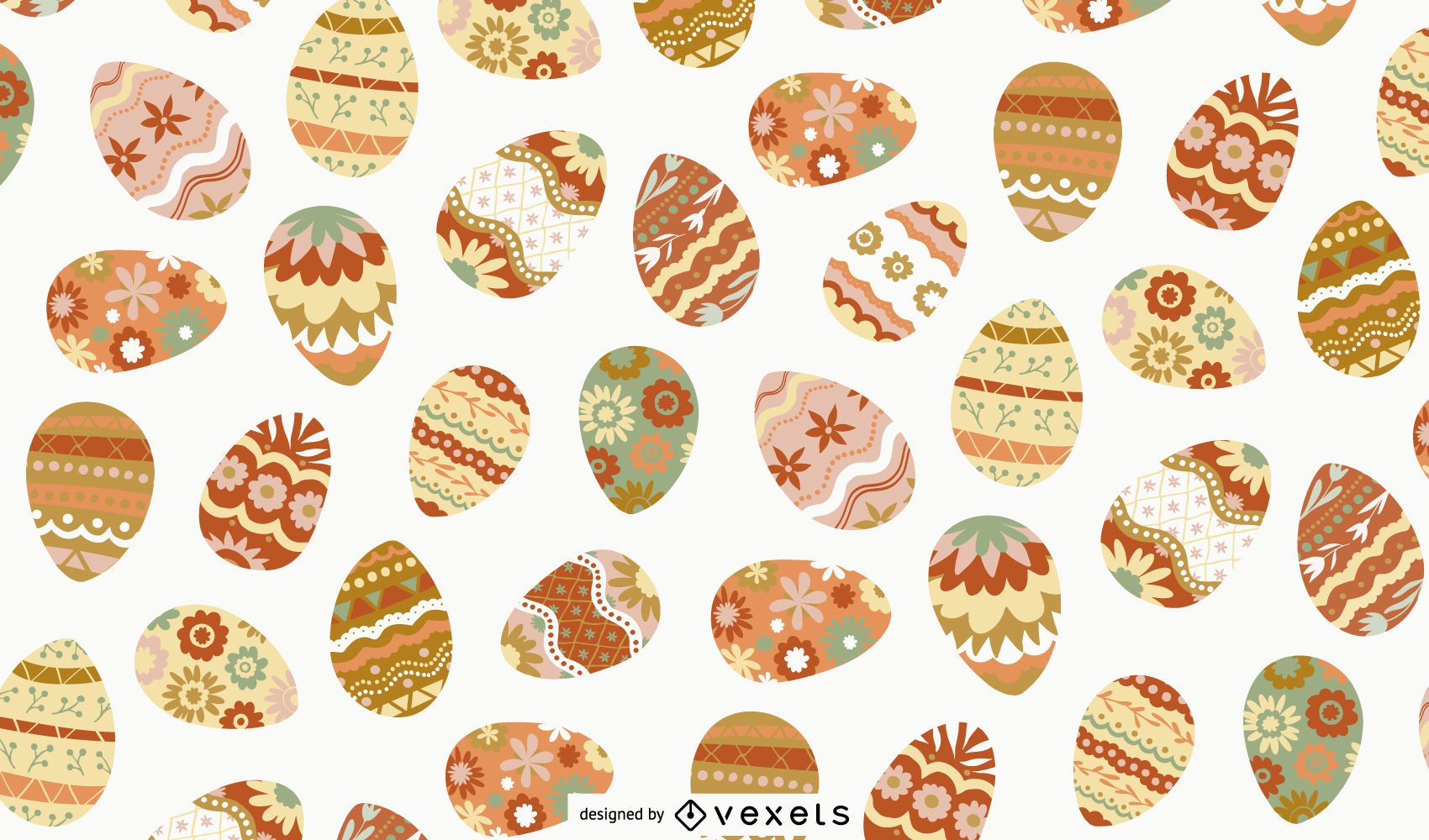 Easter decorated eggs pattern design