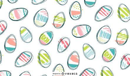 Diseño de patrón de huevos de doodle de Pascua