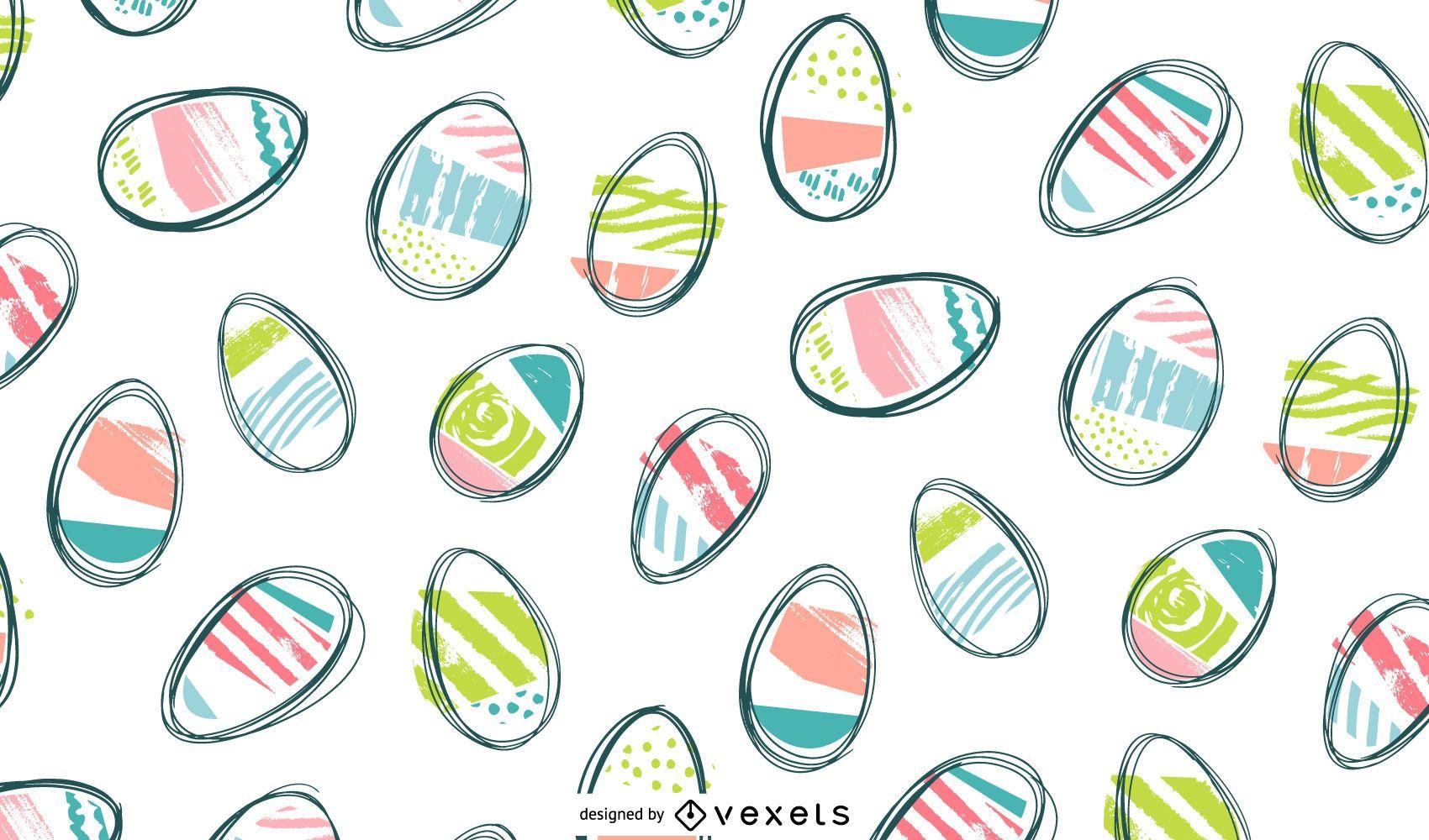 Easter doodle eggs pattern design