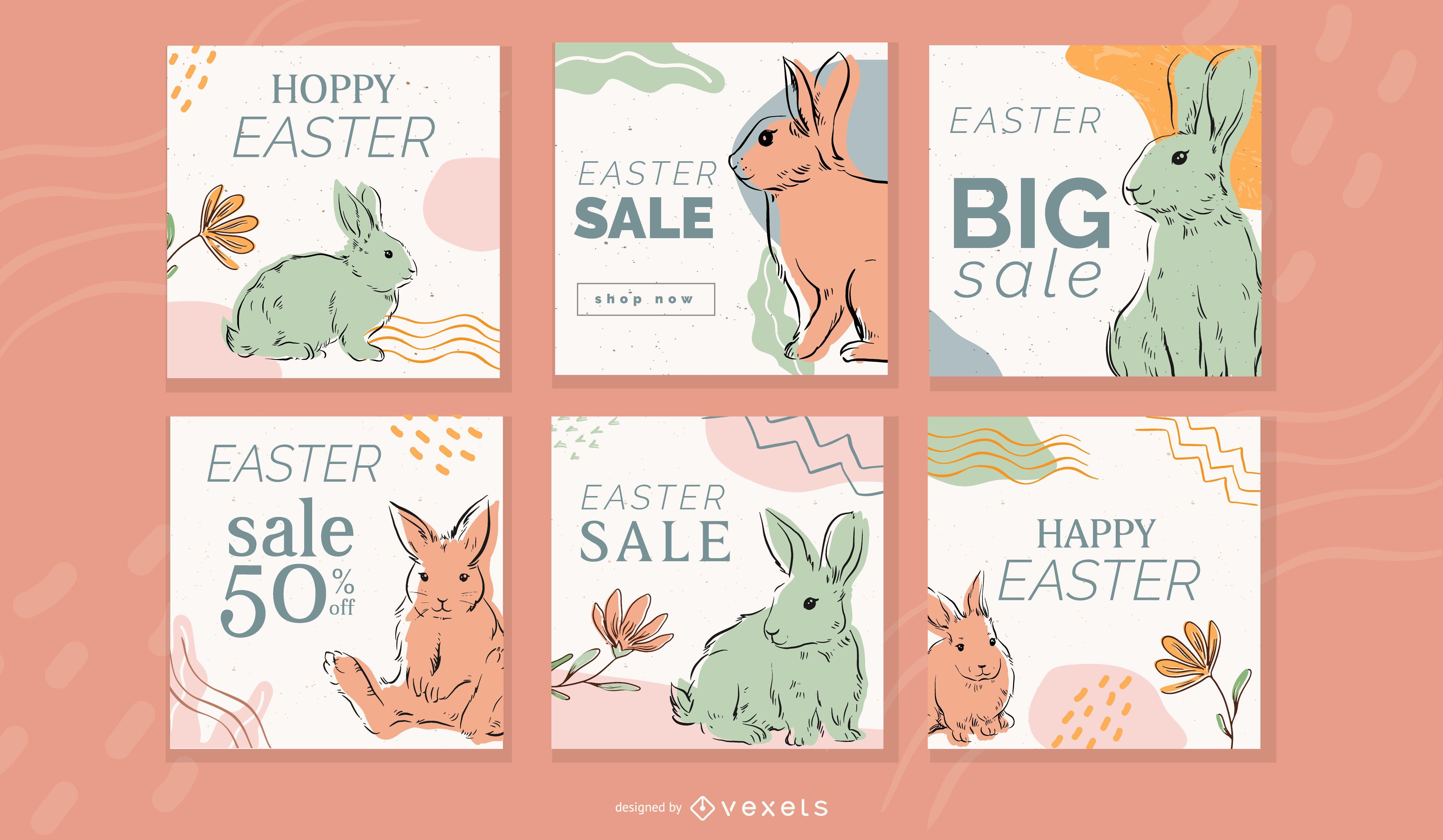 Conjunto de publicaciones de redes sociales de Pascua