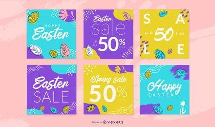 Conjunto de plantillas de publicación de redes sociales de Pascua