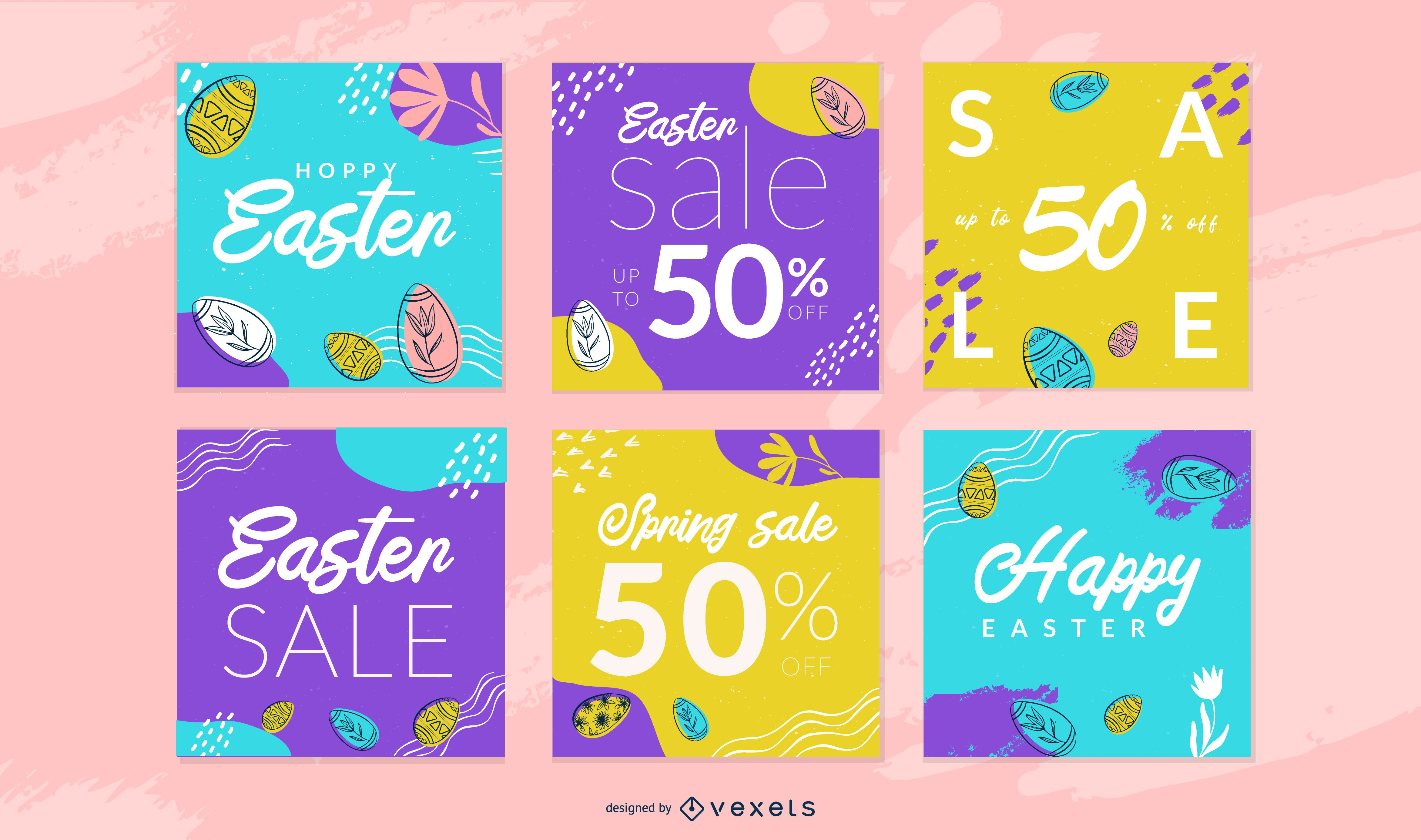 Easter social media post template set