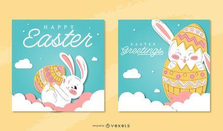 Conjunto de tarjetas de felicitación de pascua feliz