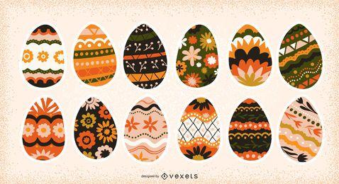 Coleção de ovos de Páscoa decorados