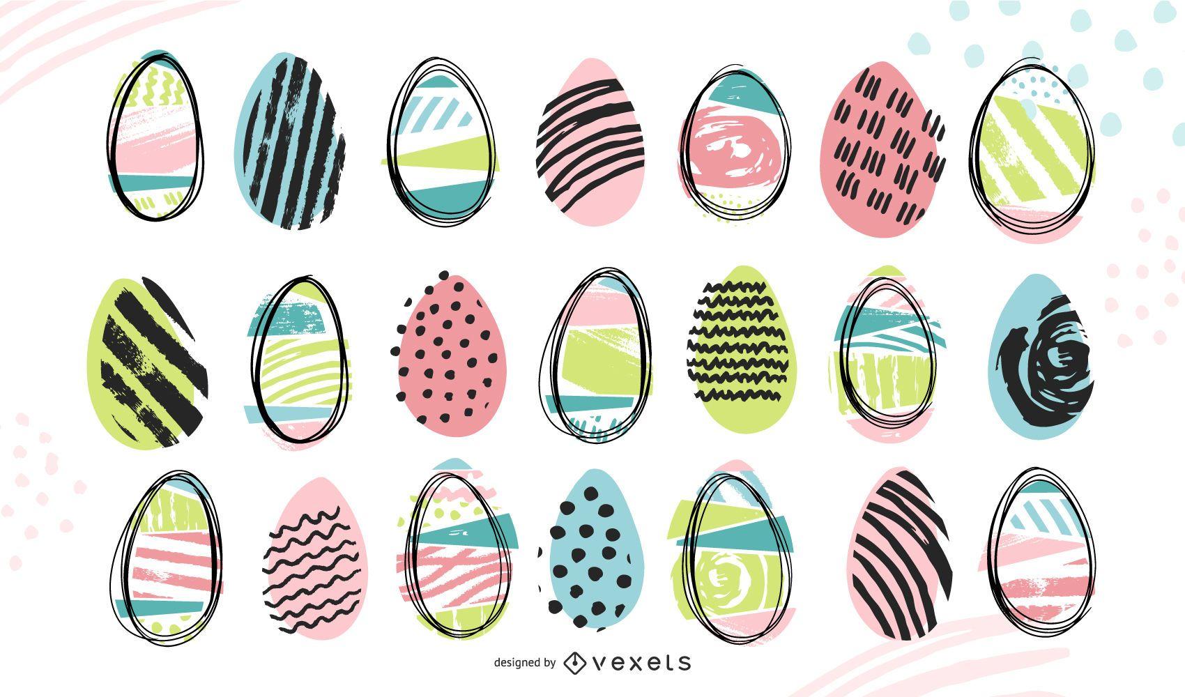 Colección de huevos de pascua de doodle