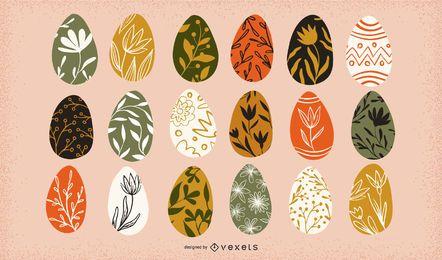 Coleção floral de ovos de Páscoa