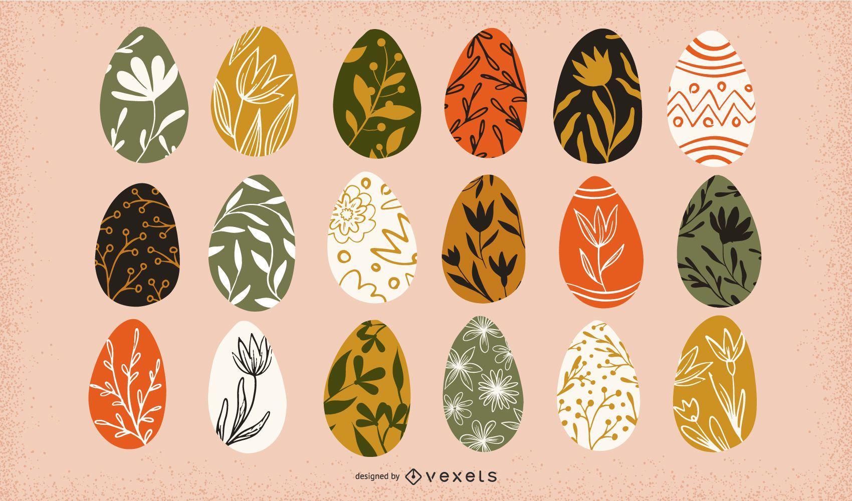 Colección floral de huevos de pascua