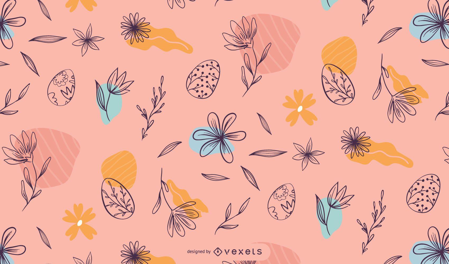 Diseño de patrón floral de Pascua