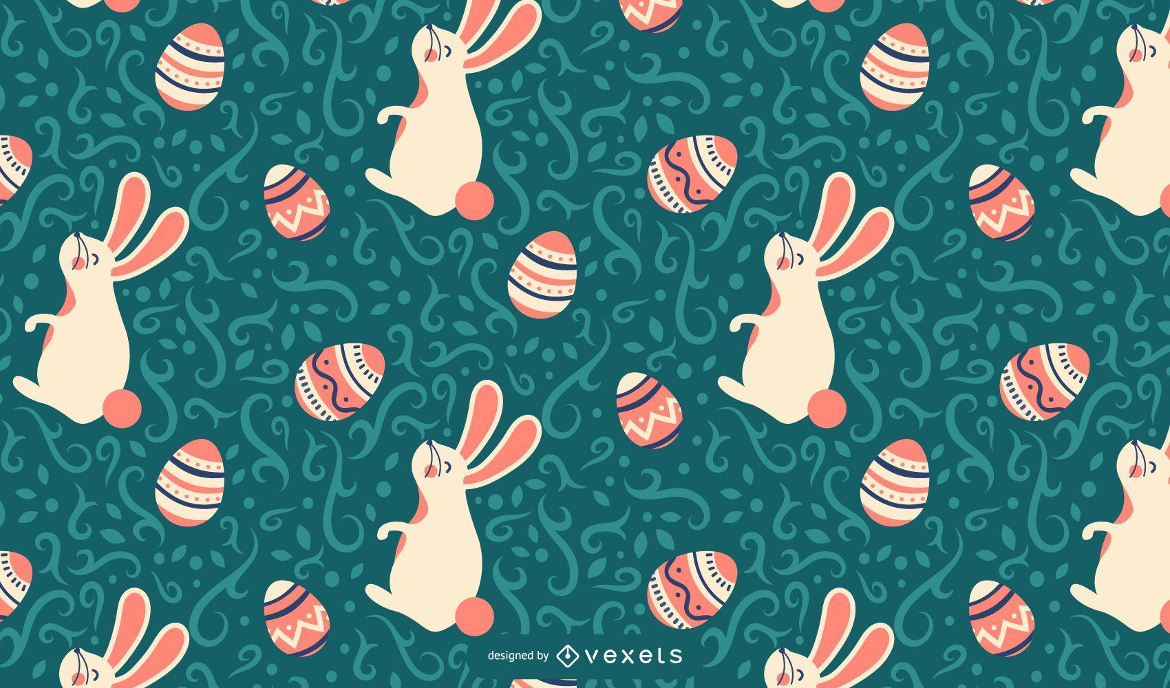 Desenho de padrão de coelhinho da Páscoa