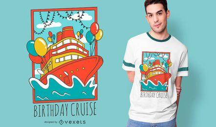 Design de t-shirt de navio de cruzeiro de aniversário