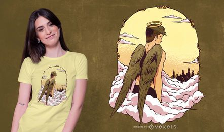 Anjo no design do t-shirt do céu
