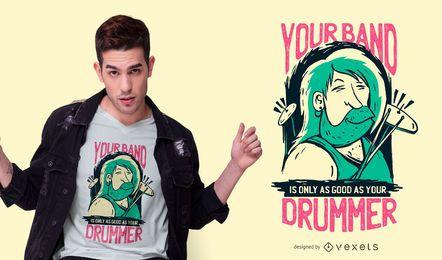 Diseño de camiseta de cita de baterista
