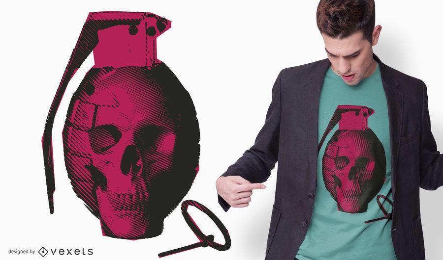 Skull Hand Grenade T-shirt Design