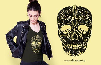 Diseño de camiseta de calavera de azúcar negra
