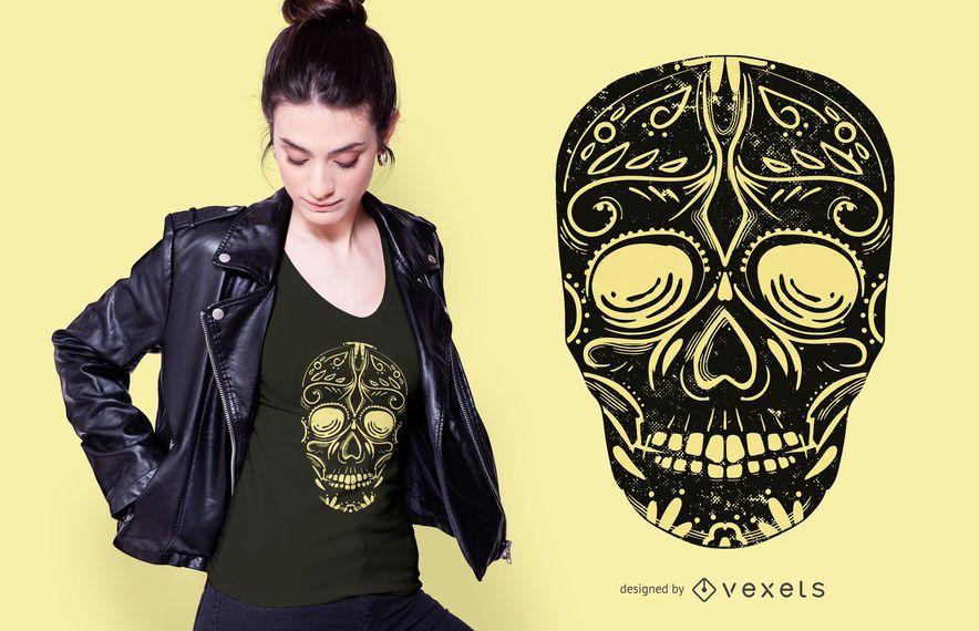 Black Sugar Skull T-shirt Design