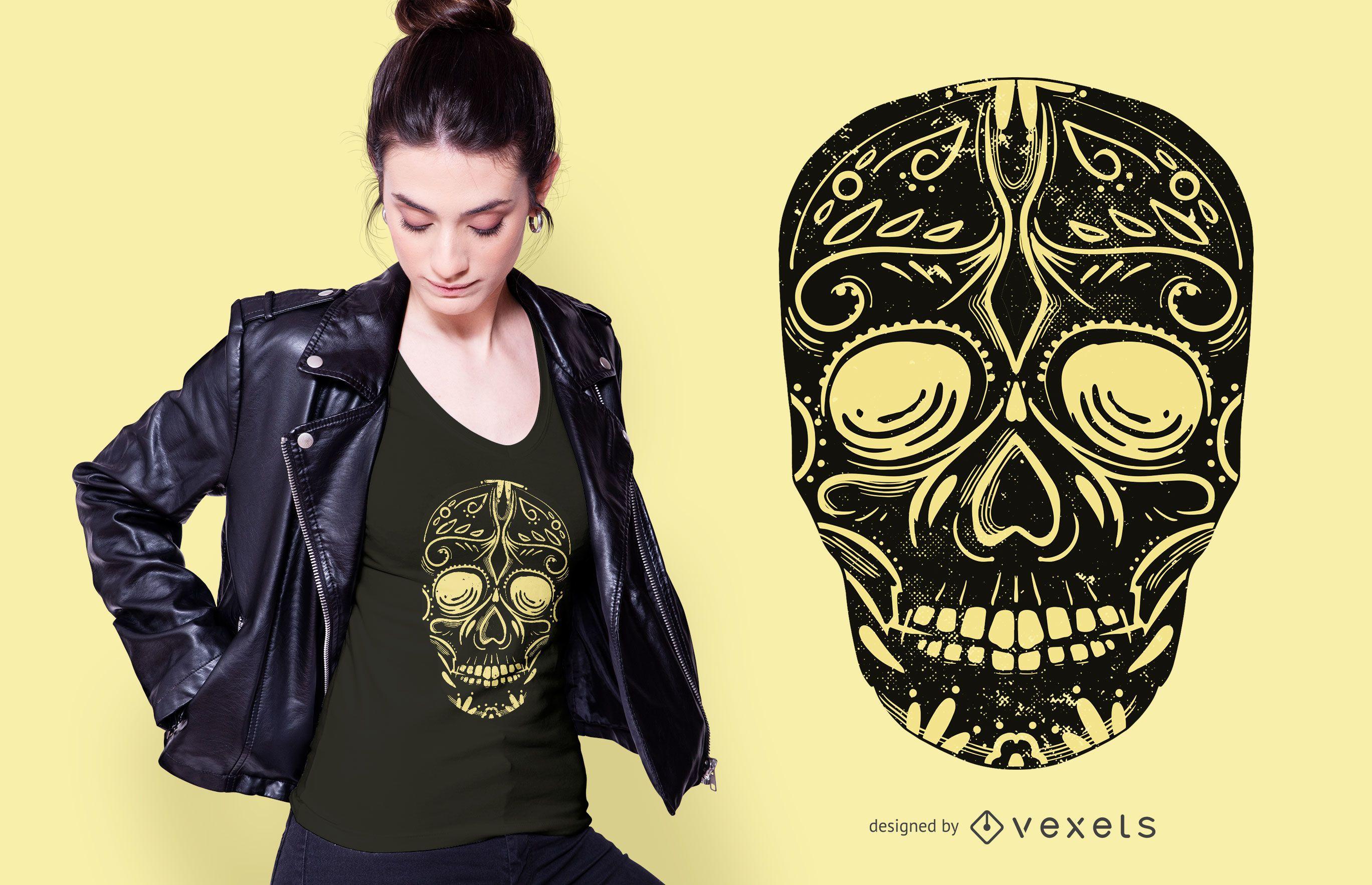 Diseño de camiseta Black Sugar Skull