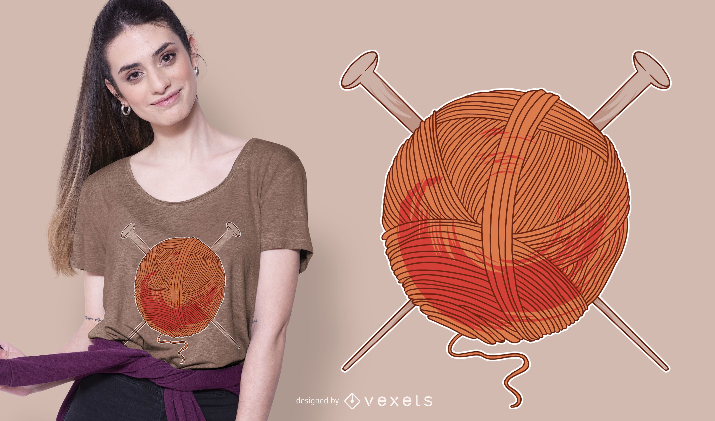 Design de t-shirt bola de fios de lã
