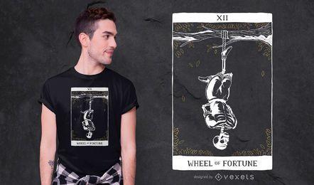 Diseño de camiseta de Tarot de hombre colgado esqueleto