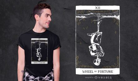 Diseño de camiseta Skeleton Hanged Man Tarot