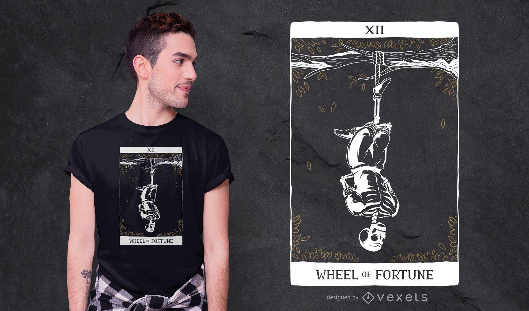 Skeleton Hanged Man Tarot T-shirt Design